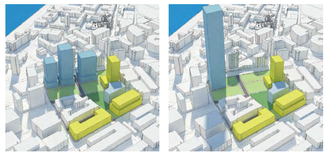 Rough massing concepts provided by CDD show what a 1000' tower on the site might look like (right-hand image).